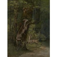 Tablou Cerb în pădure - Gustave Courbet