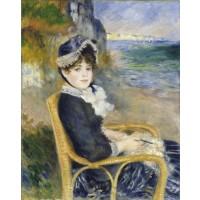 Tablou Femme assise au bord de la mer - Pierre Auguste Renoir
